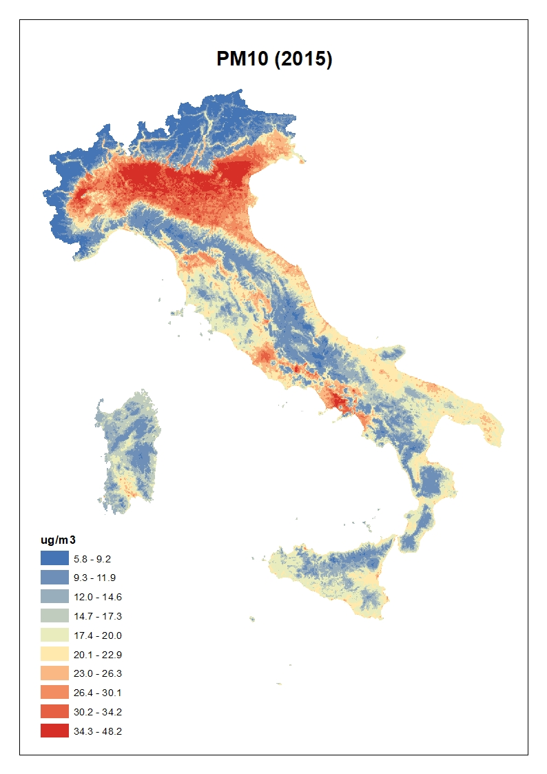 Figura 2. Concentrazioni stimate per il PM10: media annua 2015 in Italia
