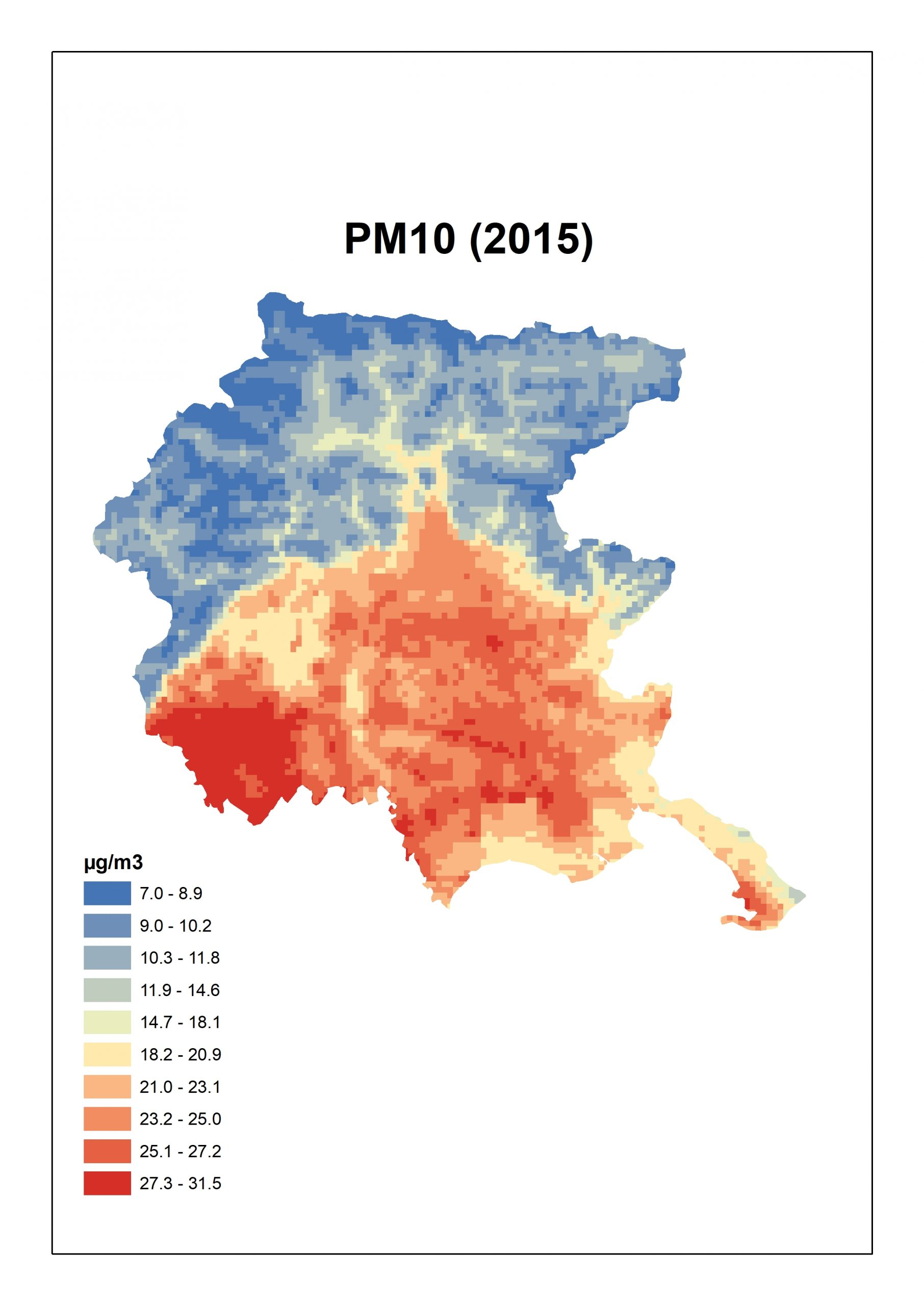 Figura 3. Concentrazioni stimate per il PM10 per Friuli Venezia Giulia: media annua 2015.