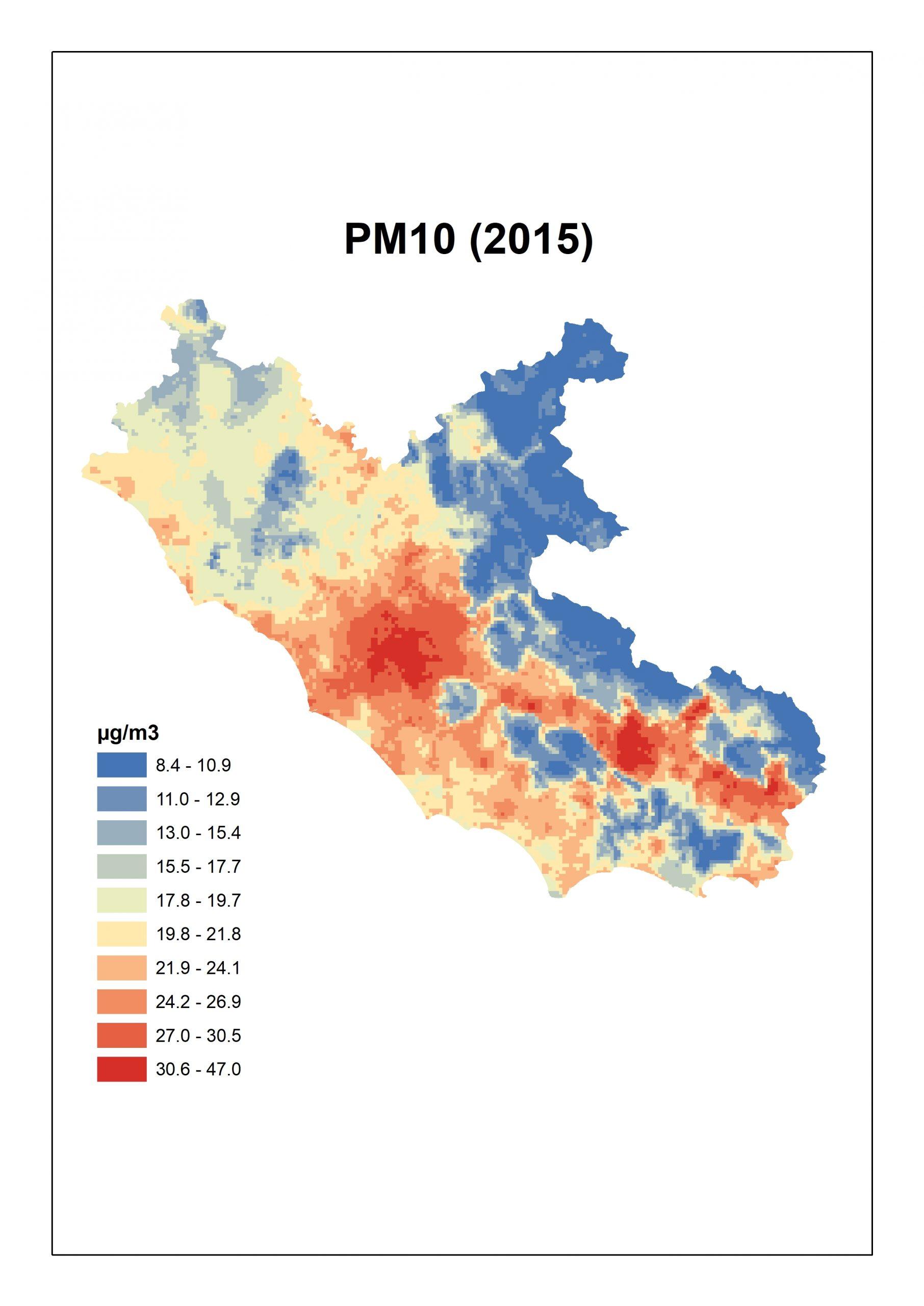 Figura 3. Concentrazioni stimate per il PM10 per il Lazio: media annua 2015.