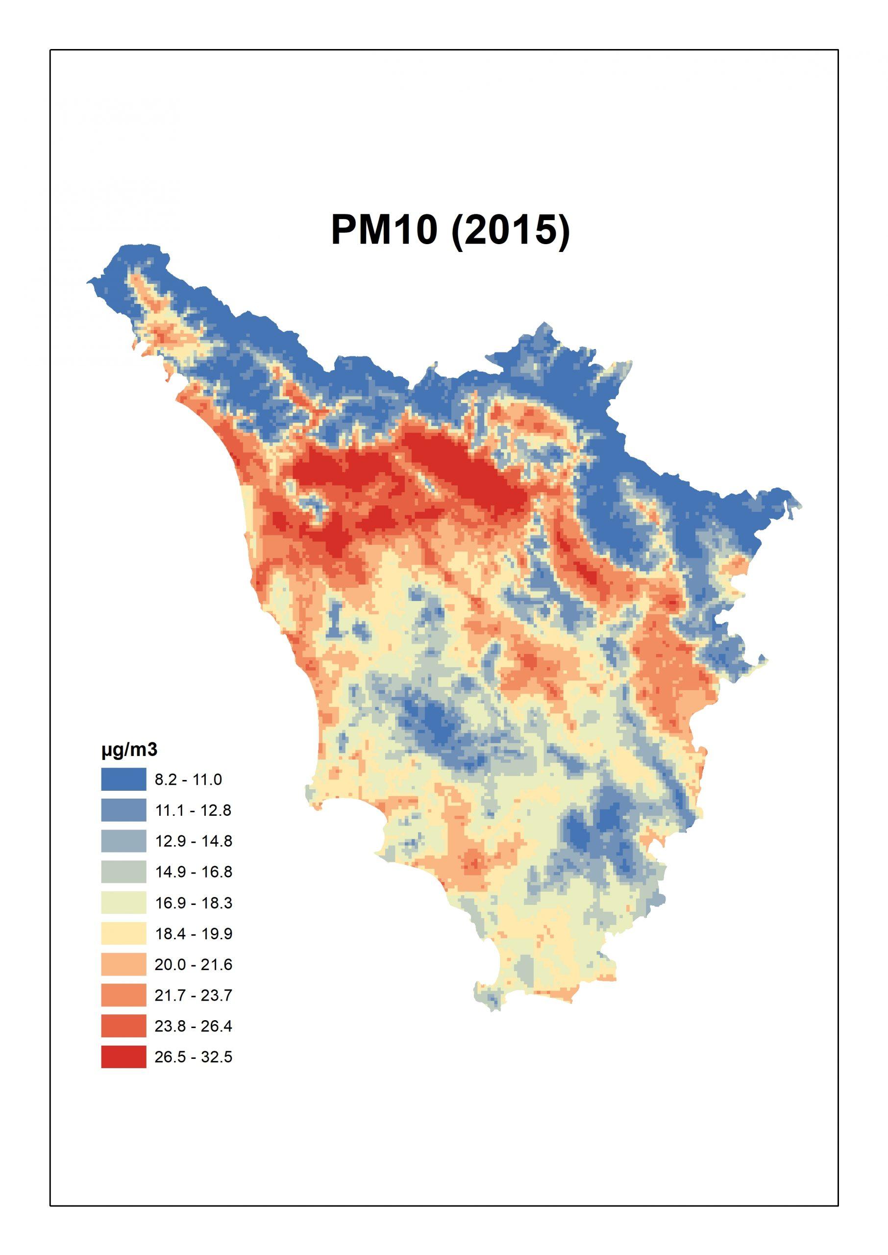 Figura 3. Concentrazioni stimate per il PM10 per la Toscana: media annua 2015.