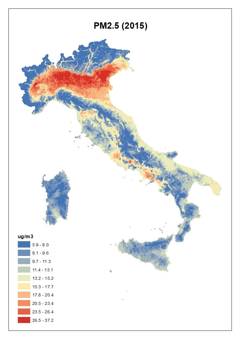 Figura 2. Concentrazioni stimate per il PM2.5: media annua 2015 in Italia