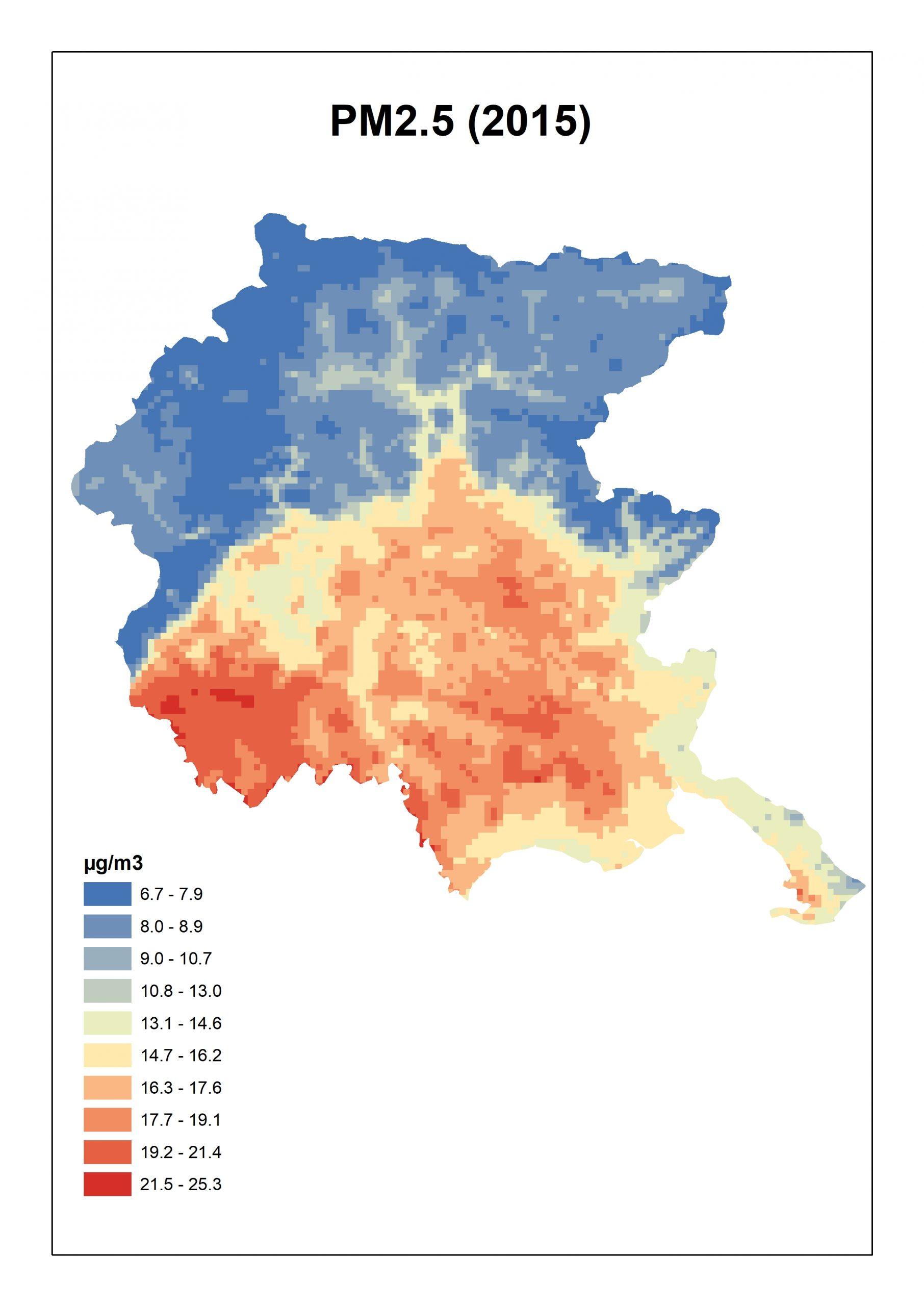 Figura 3. Concentrazioni stimate per il PM2.5 per il Friuli Venezia Giulia: media annua 2015.