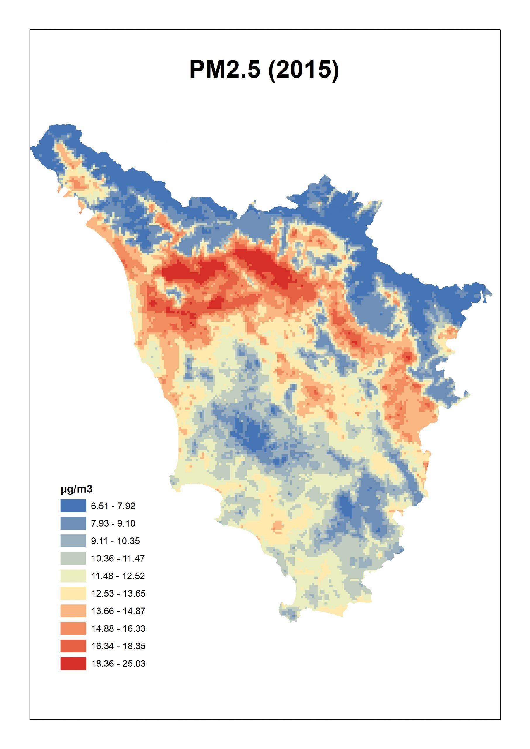 Figura 3. Concentrazioni stimate per il PM2.5 per la Toscana media annua 2015.